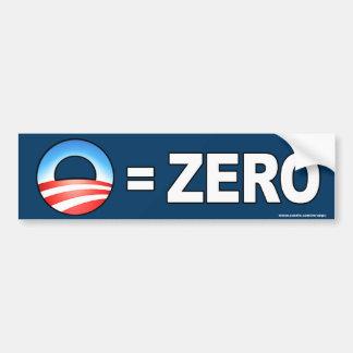"""anti Obama """"O Equals Zero"""" bumper sticker Car Bumper Sticker"""
