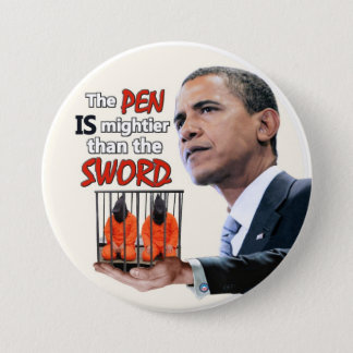 Anti-Obama: Pen vs. Sword Pinback Button