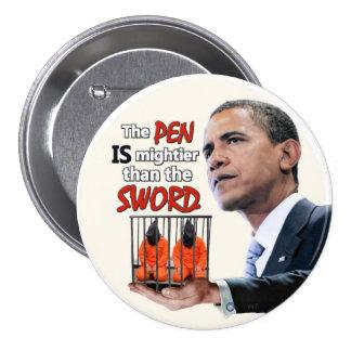 Anti-Obama: Pluma contra la espada Pin Redondo 7 Cm