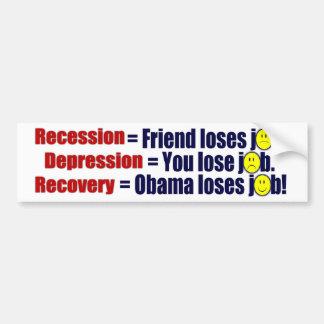 Anti Obama Recession, Depression, Recovery Car Bumper Sticker