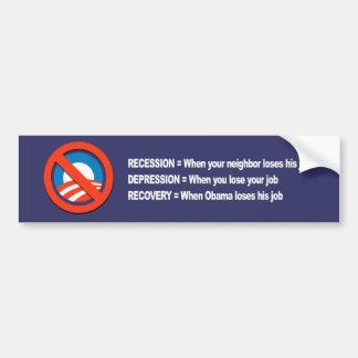 ANTI-OBAMA- Recovery when Obama loses his job Bumper Sticker