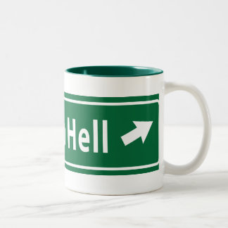 Anti-Obama: Road To Hell Paved With Stimulus Two-Tone Coffee Mug