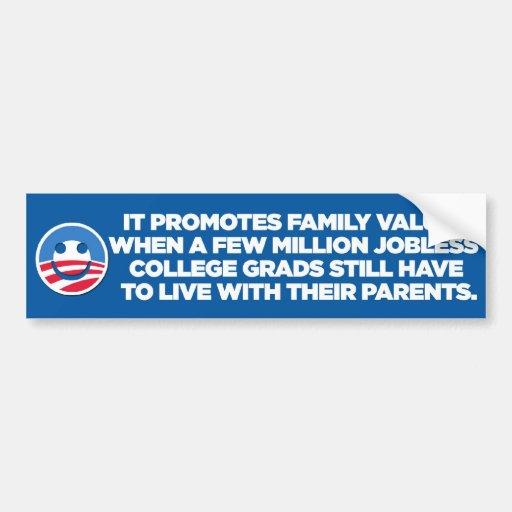 Anti-Obama sarcástico - familia - pegatina para el Etiqueta De Parachoque