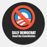 Anti-Obama - silly democrat, read the constitution Classic Round Sticker