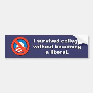 Anti-Obama - sobreviví la universidad sin a que se Pegatina Para Auto
