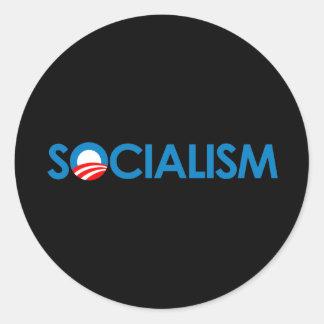 Anti-Obama - socialismo Pegatina Redonda