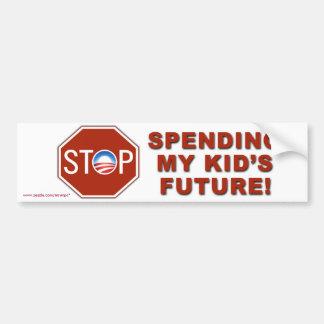 """Anti-Obama """"Stop Spending Kid's Future"""" Car Bumper Sticker"""