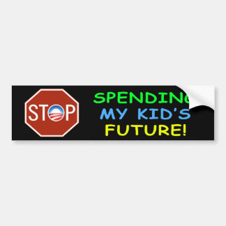 "Anti Obama ""Stop Spending Kid's Future"" Sticker"