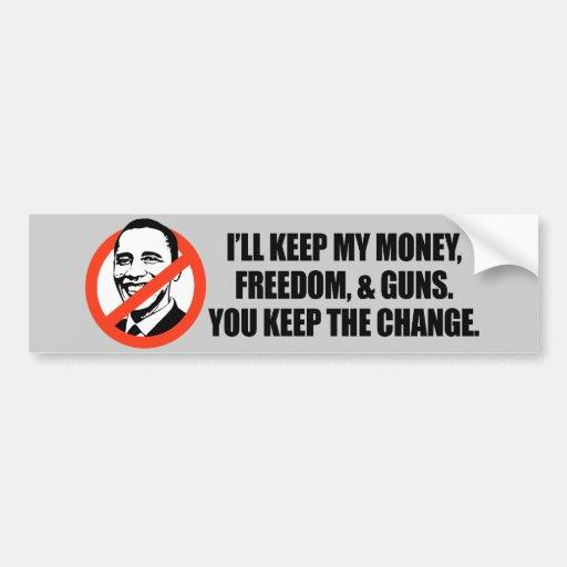 Anti-Obama T-shirt - You keep the change Car Bumper Sticker
