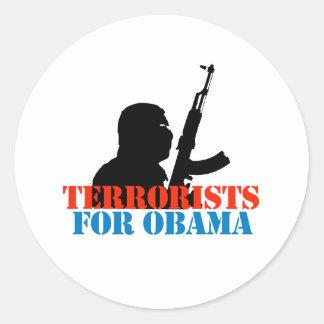 ANTI-OBAMA / TERRORISTS FOR OBAMA CLASSIC ROUND STICKER