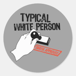 ANTI-OBAMA / TYPICAL WHITE PERSON CLASSIC ROUND STICKER