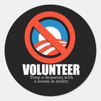 ANTI-OBAMA- voluntario - Tutor a un demócrata Pegatinas