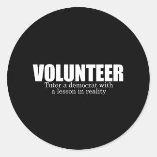 ANTI-OBAMA- voluntario - Tutor a un demócrata Etiqueta