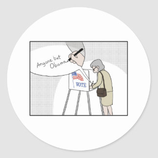 "Anti-Obama Voters say:  ""Anyone But Obama"" Classic Round Sticker"