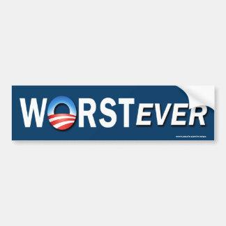 """anti Obama """"Worst Ever"""" Sticker Bumper Sticker"""