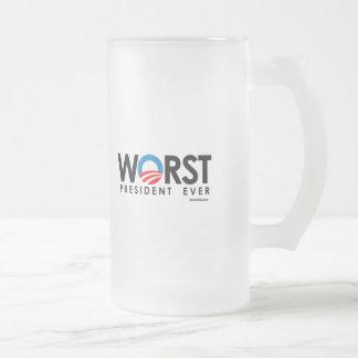ANTI-OBAMA - WORST PRESIDENT EVER 16 OZ FROSTED GLASS BEER MUG