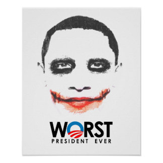 Anti-Obama - Worst President Ever black Poster