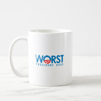ANTI-OBAMA - WORST PRESIDENT EVER- Faded.png Classic White Coffee Mug
