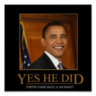 Anti Obama Yes He Did Demotivational Poster print