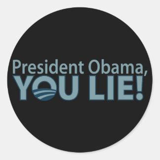 Anti-Obama You Lie! Classic Round Sticker