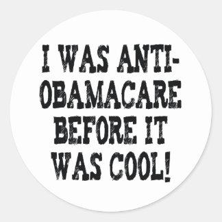 Anti-Obamacare divertido Pegatina Redonda