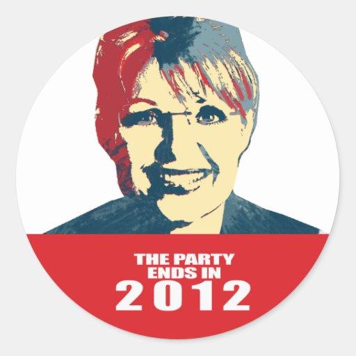 Anti-Palin -   el fiesta termina en 2012 Pegatina Redonda