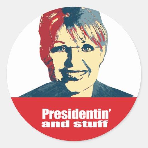 ANTI-PALIN - Presidentin y materia Pegatina Redonda