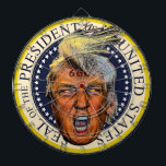 "Anti President Trump Big Mouth Devil Dart Board<br><div class=""desc"">I don&#39;t know if Donald Trump is the anti-christ but he sure meets the criteria,  and just look at those glowing eyes and the 666 branded on his forehead!</div>"