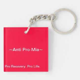 Anti Pro Eating Disorders Double Sided Keyring Double-Sided Square Acrylic Keychain