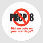 ANTI PROP 8 - Did we vote on your marriage? Stickers