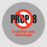 ANTI PROP 8 - Legalize gay marriage Round Sticker