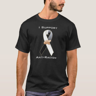 Anti-Racism Black/White Ribbon Awareness T-Shirt