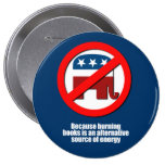 Anti-Republican - Burning books is a source of ene Pinback Button