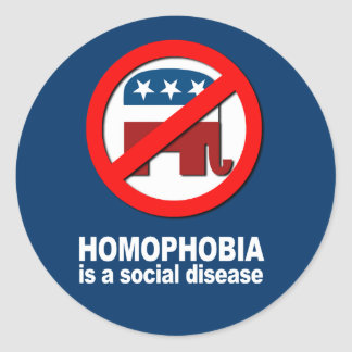 Anti-Republican - Homophobia is a social disease Round Stickers