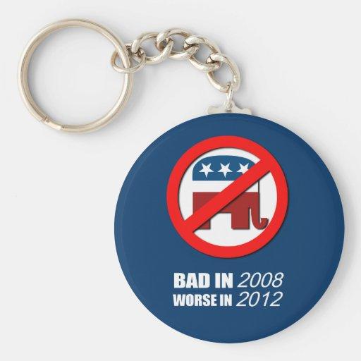 Anti-Republicano - malo en 2008 peor en 2012 Llavero Redondo Tipo Pin