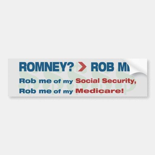 "Anti Romney ""Romney? > Rob Me!"" Political Car Bumper Sticker"