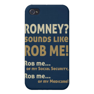 """Anti Romney """"Romney sounds like Rob Me!"""" Political iPhone 4/4S Cover"""