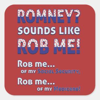 """Anti Romney """"Romney sounds like Rob Me!"""" Political Sticker"""