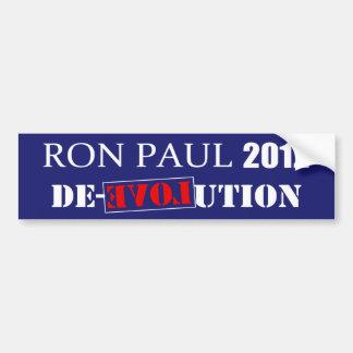 Anti Ron Paul 2012 President De-Evolution Design Bumper Sticker