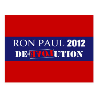 Anti Ron Paul 2012 President De-Evolution Design Postcard