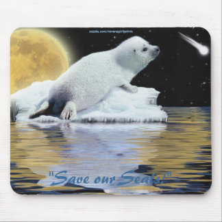 Anti-Sealhunt Cute Harp Seal Wildlife Mouse Pad