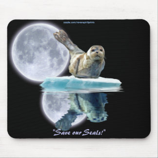 Anti-Sealhunt Seal Pup & Moon Wildlife Mouse Pad