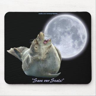 Anti-Sealhunt Seal-Pup & Moon Wildlife Mousepad