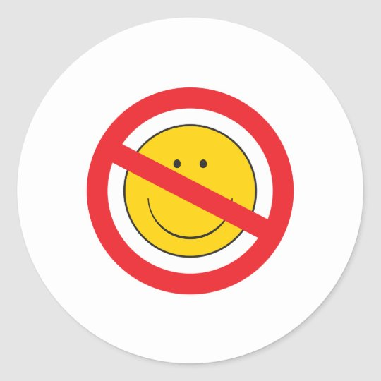 Anti-Smiley SMiley Face Classic Round Sticker