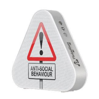 Anti-social warning. speaker