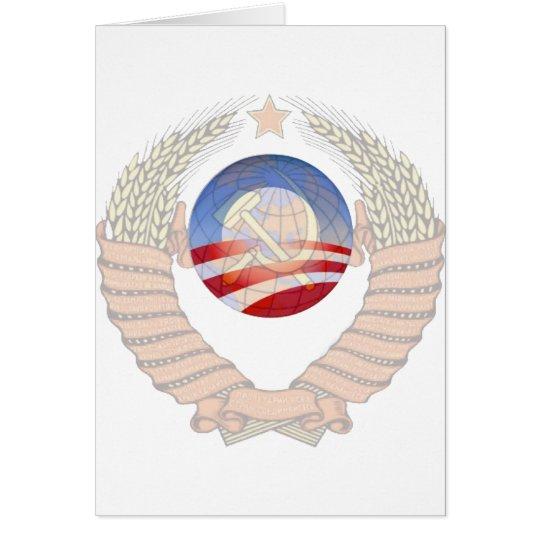 Anti Socialism Statement Krem & Obama Logos Card