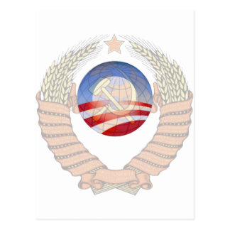 Anti Socialism Statement Krem & Obama Logos Postcard