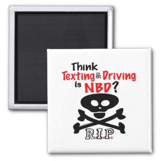 Anti-Texting mientras que conduce Imán Cuadrado