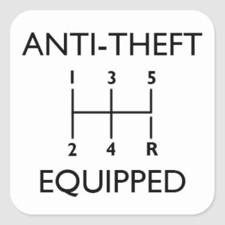 Anti-Theft Equipped (With Stickshift) Sticker