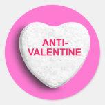 ANTI-VALENTINE CANDY HEART ROUND STICKER